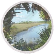 St. Mark's Marshes Round Beach Towel