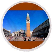 Round Beach Towel featuring the photograph St Mark's Square by Anne Kotan