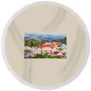St. Martin Rooftops Round Beach Towel
