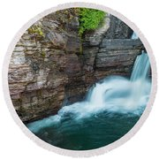Round Beach Towel featuring the photograph St. Mary Falls by Gary Lengyel