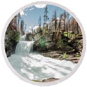 Round Beach Towel featuring the photograph St. Mary Falls by Margaret Pitcher