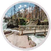 Round Beach Towel featuring the photograph St. Mary Falls With Bridge by Margaret Pitcher