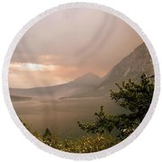 St Mary Lake In The Smoke Round Beach Towel