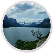 St Mary Lake, Incoming Storm Round Beach Towel