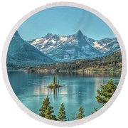 St Mary Lake Round Beach Towel