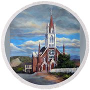 Round Beach Towel featuring the painting St. Mary Of The Mountains by Donna Tucker