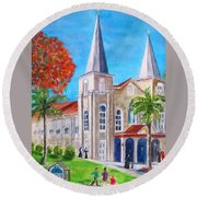 St. Mary's Catholic Church Key West Round Beach Towel
