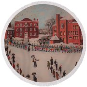 St Mary's First Friday Mass Round Beach Towel by Rita Brown