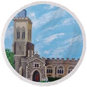 St. Mary's In England Round Beach Towel by Katherine Young-Beck