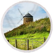 St Monans Landmark Round Beach Towel by MaryJane Armstrong