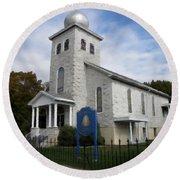 Round Beach Towel featuring the photograph St Nicholas Church Saint Clair Pennsylvania by David Dehner