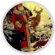 St Nick  And Friends Round Beach Towel