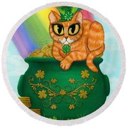 St. Paddy's Day Cat - Orange Tabby Round Beach Towel