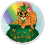 St. Paddy's Day Cat - Orange Tabby Round Beach Towel