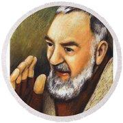 St. Padre Pio Of Pietrelcina - Jlpio Round Beach Towel