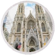 St. Patrick Cathedral In New York Round Beach Towel