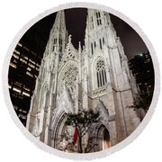 St Patrick Cathedral New York Round Beach Towel