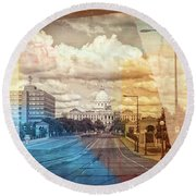 Round Beach Towel featuring the photograph St. Paul Capital Building by Susan Stone