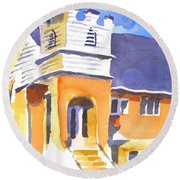 Round Beach Towel featuring the painting St. Paul Lutheran 3 Impressions by Kip DeVore