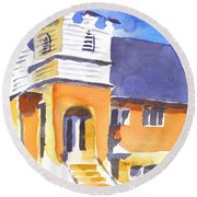 Round Beach Towel featuring the painting St Paul Lutheran 3 by Kip DeVore