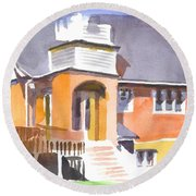 Round Beach Towel featuring the painting St Paul Lutheran In Watercolor 2 by Kip DeVore