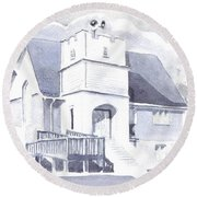 Round Beach Towel featuring the painting St. Paul Lutheran Church 2 by Kip DeVore