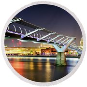 St Paul's Cathedral During Night From The Millennium Bridge Over River Thames, London, United Kingdom. Round Beach Towel