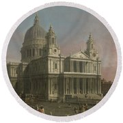 St. Paul's Cathedral Round Beach Towel by Giovanni Antonio Canaletto