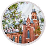 Round Beach Towel featuring the photograph St Paul's Cathedral In Downtown Birmingham by Shelby Young
