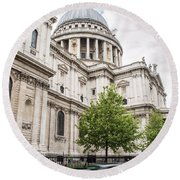 St Pauls Cathedral With Black Taxi Round Beach Towel