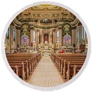 Round Beach Towel featuring the photograph St Peter The Apostle Church Pa by Susan Candelario