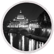 St. Peters At Night Round Beach Towel