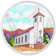 St. Peter's Catholic Church, Fayette, Mi Round Beach Towel by Carlos G Groppa