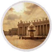 St Peter's Square In Vatican City Round Beach Towel