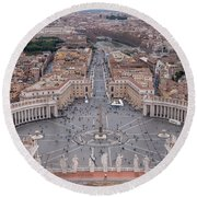 Round Beach Towel featuring the photograph St. Peter's Square by Sergey Simanovsky