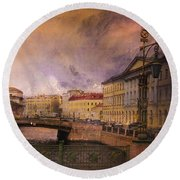 St Petersburg Canal Round Beach Towel by Jeff Burgess