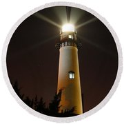 St Simons Island Lighthouse Round Beach Towel