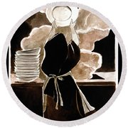 St. Therese Doing The Dishes - Mmdtd Round Beach Towel
