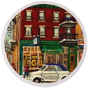 St Viateur Bagel And Mehadrins Deli Round Beach Towel