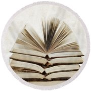 Stack Of Open Books Round Beach Towel