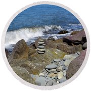 Round Beach Towel featuring the photograph Stacked Against The Waves by Tikvah's Hope