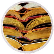 Stacked Book Spines Round Beach Towel