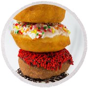 Stacked Donuts Round Beach Towel