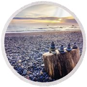 Stacked Rocks At Sunset Round Beach Towel