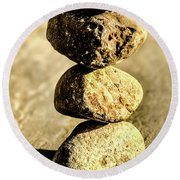 Round Beach Towel featuring the photograph Stacked Rocks by Onyonet  Photo Studios