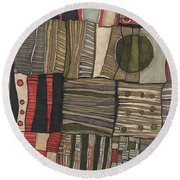 Stacked Shapes Round Beach Towel