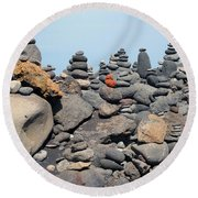 Stacked Stones And Blue Sky Round Beach Towel