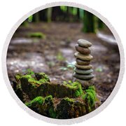 Round Beach Towel featuring the photograph Stacked Stones And Fairy Tales by Marco Oliveira