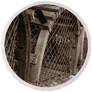 Round Beach Towel featuring the photograph Stacks Of Pei Loberster Traps by Chris Bordeleau