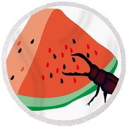 Stag Beetle Is Eating A Piece Of Red Watermelon Round Beach Towel